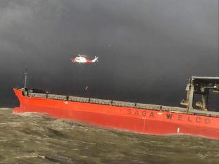 Major rescue operation south-west of Dover after collision between cargo ship and a rock barge (Video)