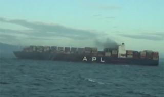 Fire breaks out on container ship APL Vancouver (Video)