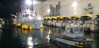 Grounded Spanish Minesweeper Turia Refloated, Towed to Port