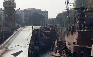 Two sailors dead, 14 injured after warship INS Betwa slips on Mumbai docks