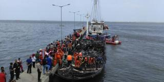 Twenty three people killed and dozens injured after ferry fire in Indonesia