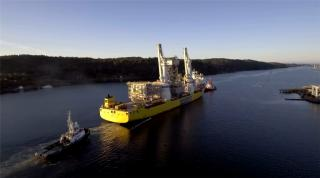WATCH: Peregrino II drilling facility modules set sail for Texas
