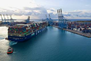 Maiden call in Malta by the CMA CGM JACQUES SAADE, the largest container ship in the world powered by LNG