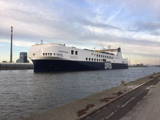 New and largest DFDS ro-ro ship 'Hollandia Seaways' sails between Gothenburg and Ghent in North Sea Port