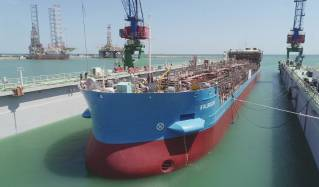 The Second Tanker Manufactured in Azerbaijan Launched for the Next Stage of Construction (Video)