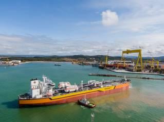 Aframax tanker built by Zvezda shipyard leaves for sea trials
