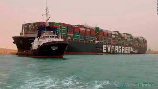 Containership Ever Given under way for departure from Suez Canal