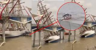 WATCH: Tall ship CISNE BRANCO collided with bridge, capsized tug at Guayaquil