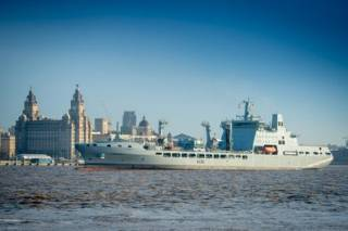RFA Tidespring Enters The Mersey After First Docking Period