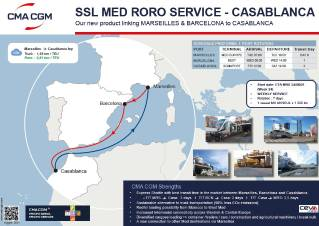 CMA CGM to launch a new RORO Short Sea Med service connecting Marseille & Barcelona with Casablanca