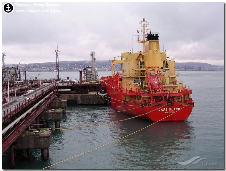 DISTYA PUSHTI (MMSI: 419000960) ; Place: Oil Terminal SHESKHARIS, port Novorossiysk, Russia.
