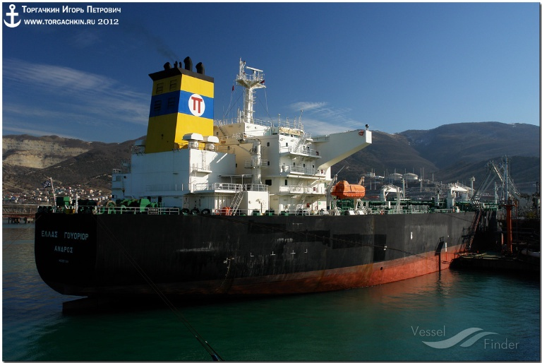 NEW HELLAS (MMSI: 239772000) ; Place: Oil Terminal SHESKHARIS, port Novorossiysk, Russia.