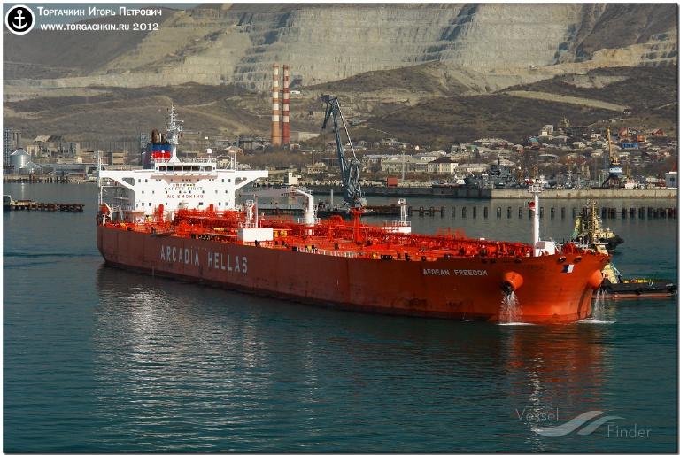 AEGEAN FREEDOM (MMSI: 239989000) ; Place: Oil Terminal SHESKHARIS, port Novorossiysk, Russia.