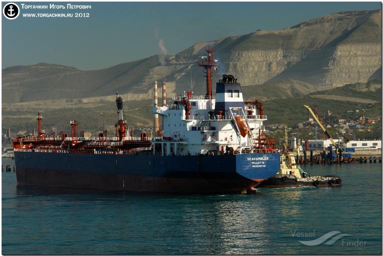 SEARAMBLER (MMSI: 215107000) ; Place: Oil Terminal SHESKHARIS, port Novorossiysk, Russia.