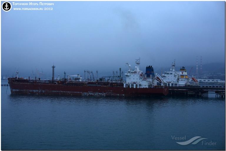 CPO LARISA ATHENA (MMSI: 538090500) ; Place: Oil Terminal SHESKHARIS, port Novorossiysk, Russia.