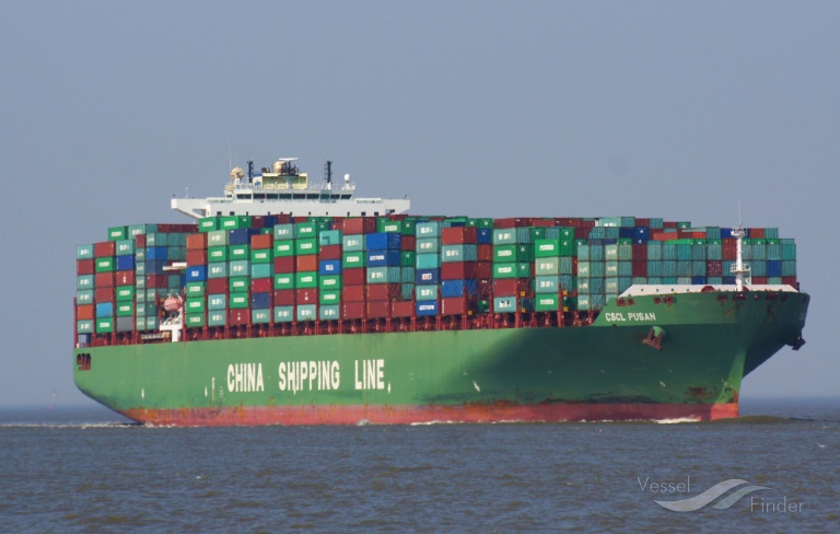 CSCL PUSAN (MMSI: 209251000) ; Place: Cuxhaven, Germany