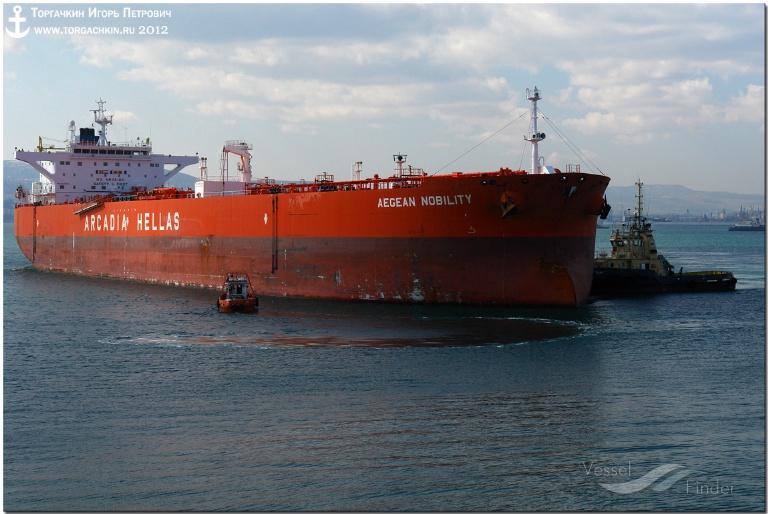 AEGEAN NOBILITY (MMSI: 240657000) ; Place: Oil Terminal SHESKHARIS, port Novorossiysk, Russia.