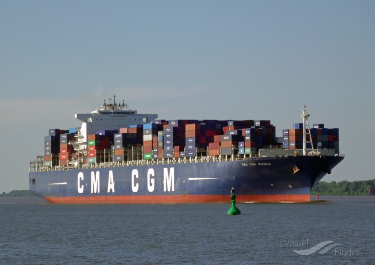 CMA CGM MUSCA (MMSI: 235070928) ; Place: River Elbe/Germany