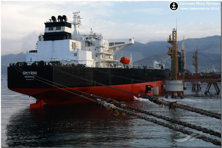 SMYRNI (MMSI: 636015015) ; Place: Oil Terminal SHESKHARIS, port Novorossiysk, Russia.